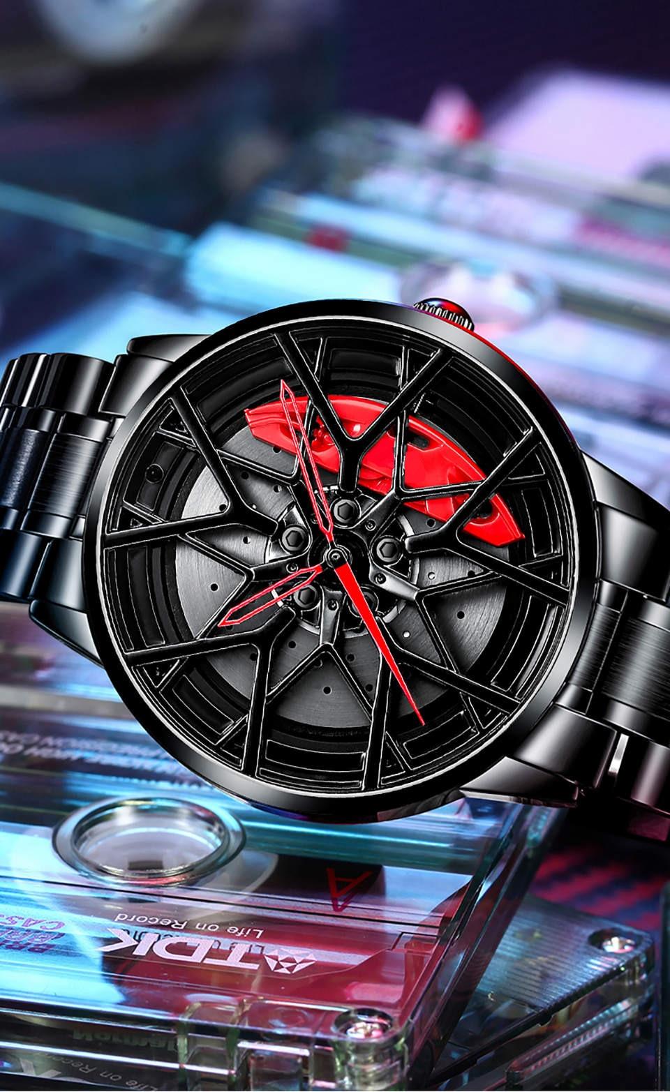 Hccf93d773b564ff6ad06a850e59a4143b NIBOSI 2020 Car Rim Hub Wheel Watch Custom Design
