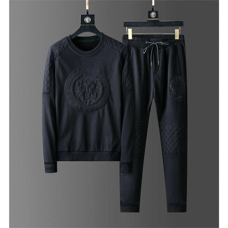 Trendy Men 2 Pieces Set Fashion Hooded Sweatshirts Sportswear Men Tracksuit Hoodie Autumn Men Brand Clothes Hoodies+Pants Sets