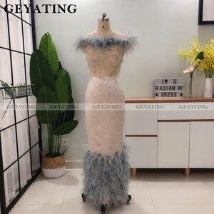Image 2 - Teal 3D çiçek tüy arapça abiye giyim Mermaid kapalı omuz ayak bileği uzunluğu yarı resmi elbiseler 2021 zarif Dubai balo elbise