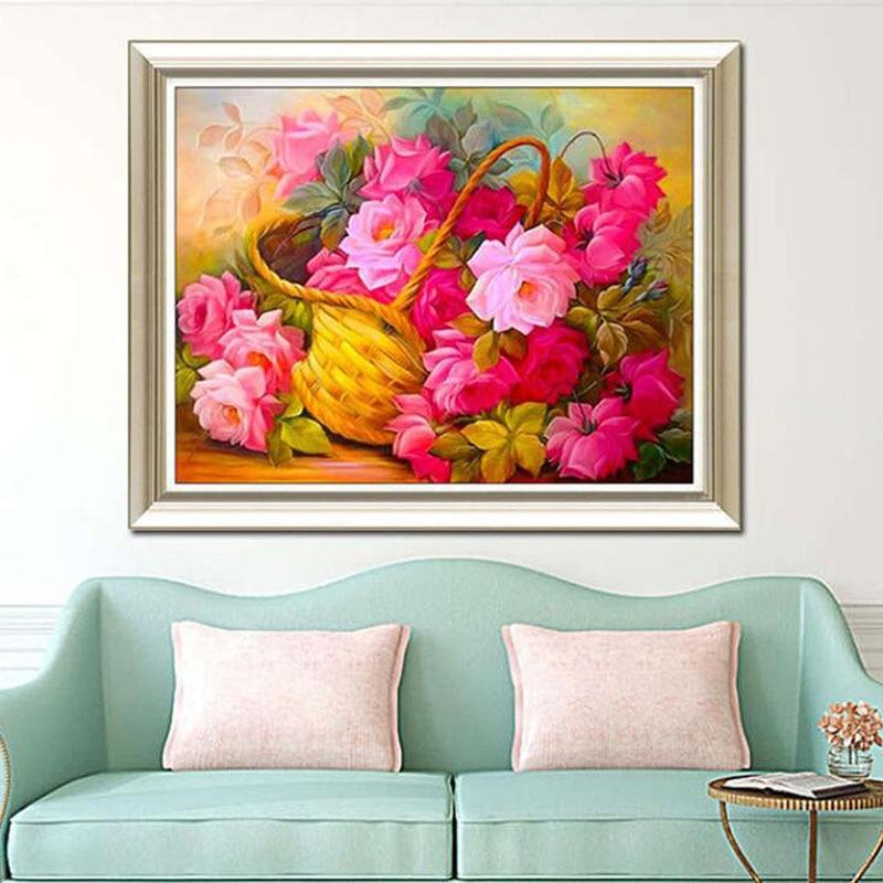 Алмазная живопись вышивка цветок Алмазная вышивка крестиком полный квадратный Стразы элегантное украшение дома подарок