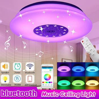80W LED Music Ceiling Light RGB bluetooth Speaker Lamp 110-220V Remote Dimmable APP Smart Colorful Home Party Bedroom Lighting
