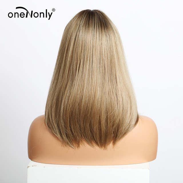 oneNonly Medium Length Straight Ombre Brown Blonde Synthetic Wigs with Bangs for Women Cosplay Natural Hair Wig Heat Resistant| |   -