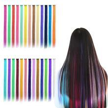 Coolhair зажим в одной части кусочек радуги наращивание волос волосы прямые ломбер Радуга Розовый Синий Фиолетовый синтетический поддельные волос