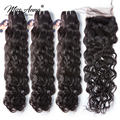[MissAnna] OneCut Indian Natural Wave Hair Weave 3/4 Bundles With Closure Double Weft Remy Human Hair Bundles With Closure
