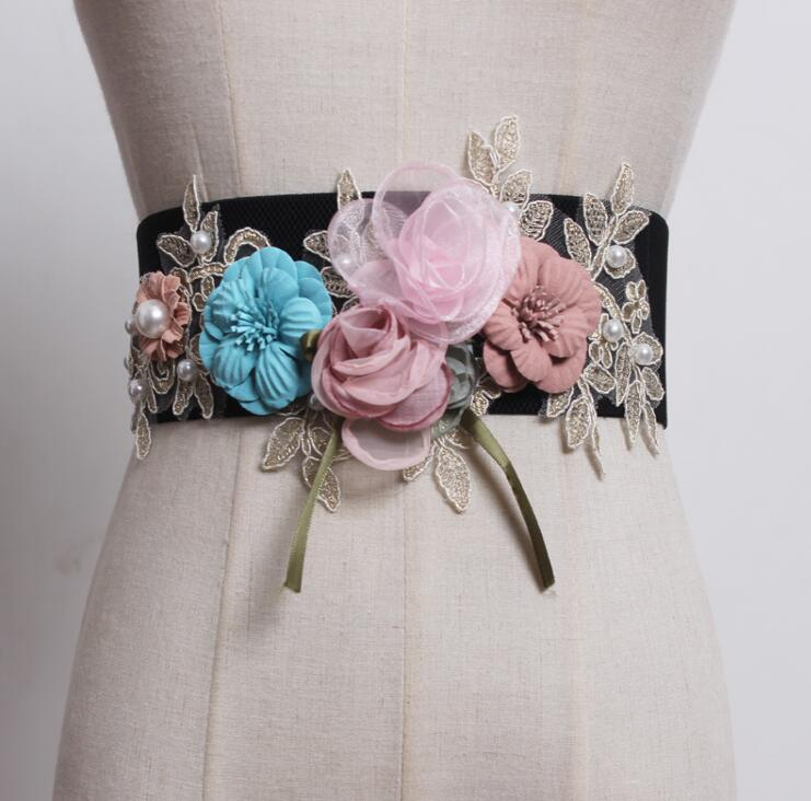 Women's Runway Fashion Flower Elastic Cummerbunds Female Dress Coat Corsets Waistband Belts Decoration Wide Belt R1811
