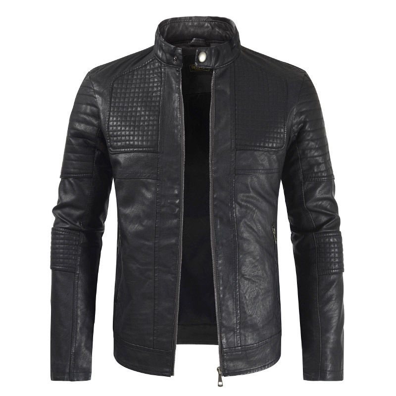 2019 Autumn And Winter Fashion New Style MEN'S Leather Jacket Youth Slim Fit Joint Stand Collar Casual Leather Coat