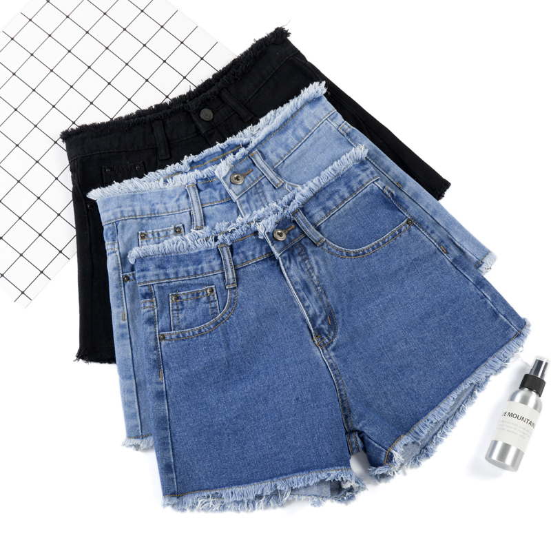 Shorts New High Waist Elastic Waist Denim Shorts Female Summer Thin Section Large Size Four Sides Stretch Thin Hot