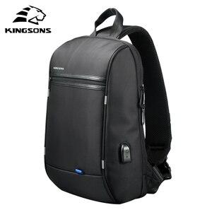 Image 2 - Kingson 13 حقيبة صدر للرجال الأسود حقائب كتف واحدة مع USB شحن مقاوم للماء النايلون حقائب كروسبودي حقيبة ساع البيع