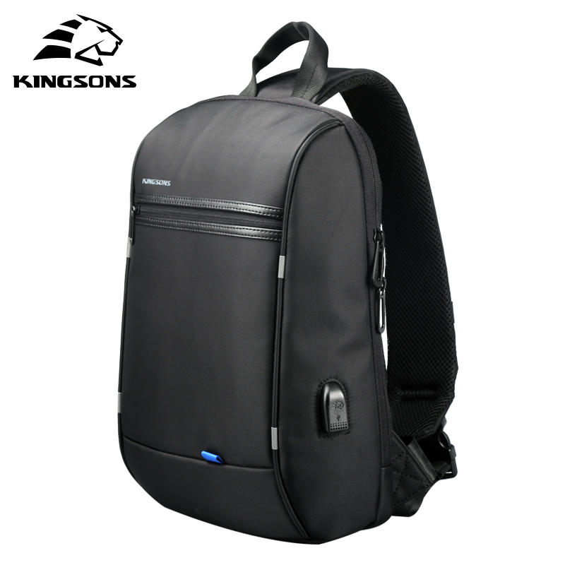 Kingsons Chest Bag For Men Black Single Shoulder Bags For Men Waterproof Nylon Crossbody Bags Male Men Messenger Bags