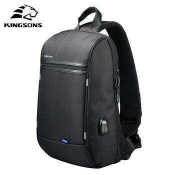 Kingsons Chest Bag for Men Black Single Shoulder Bags Waterproof Nylon Crossbody Male Messenger
