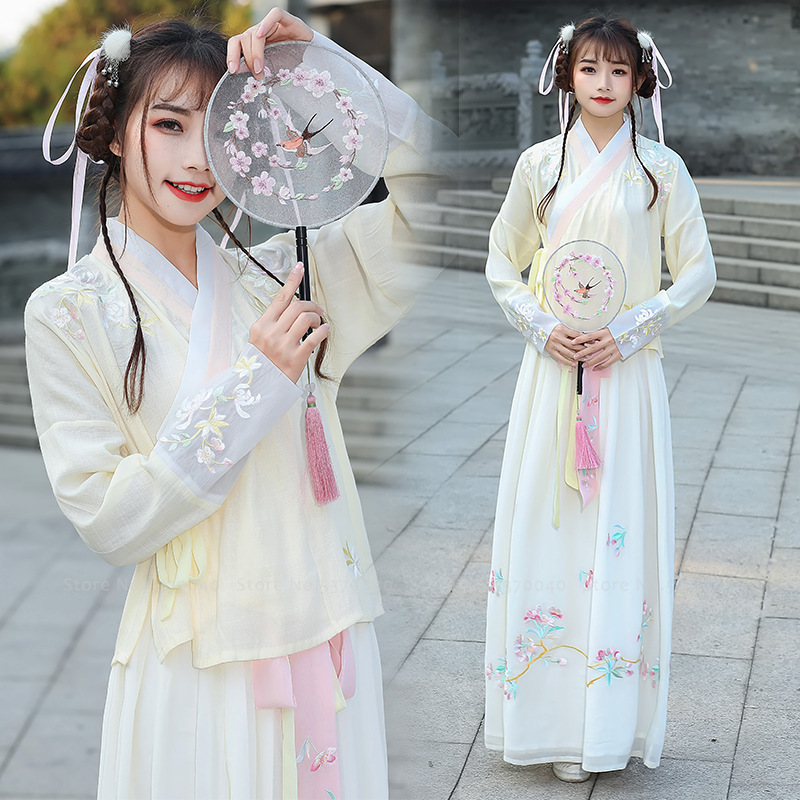 Women Traditional Chinese Clothing Hanfu Tops Skirt Missy Princess Party Dress Girls Tang Dynasty Suit Kimono Yukata Floral Robe