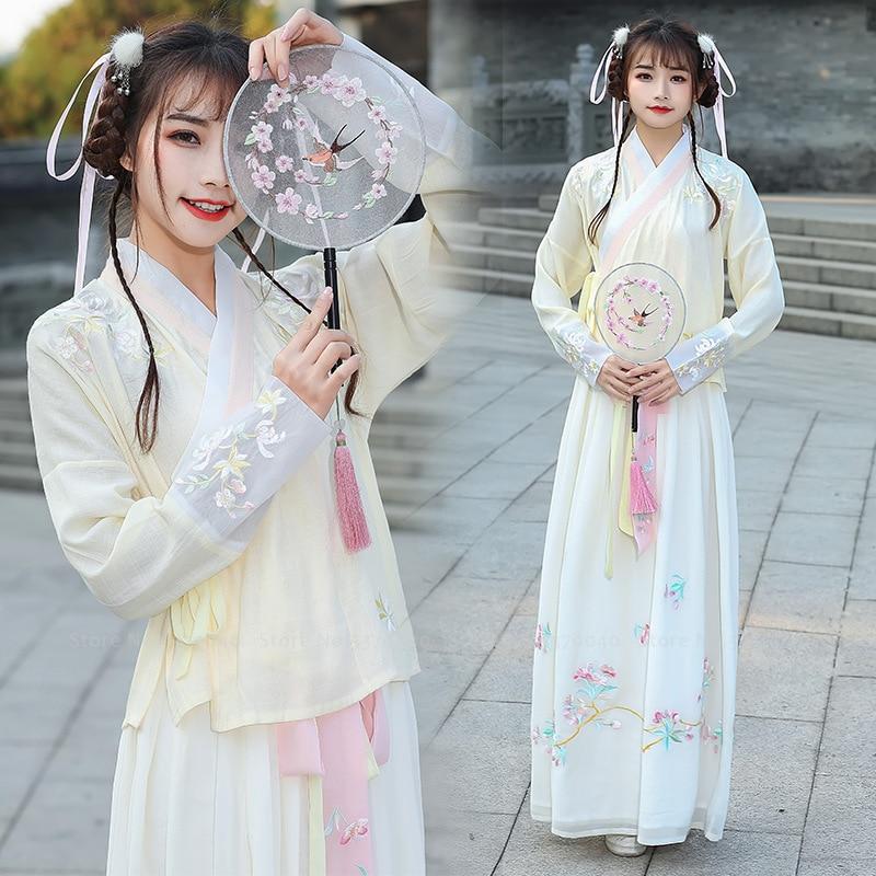 Women Traditional Chinese Clothing Hanfu Tops Skirt Missy Princess Party Dress Girls Tang Dynasty Suit Kimono Yukata Floral Robe