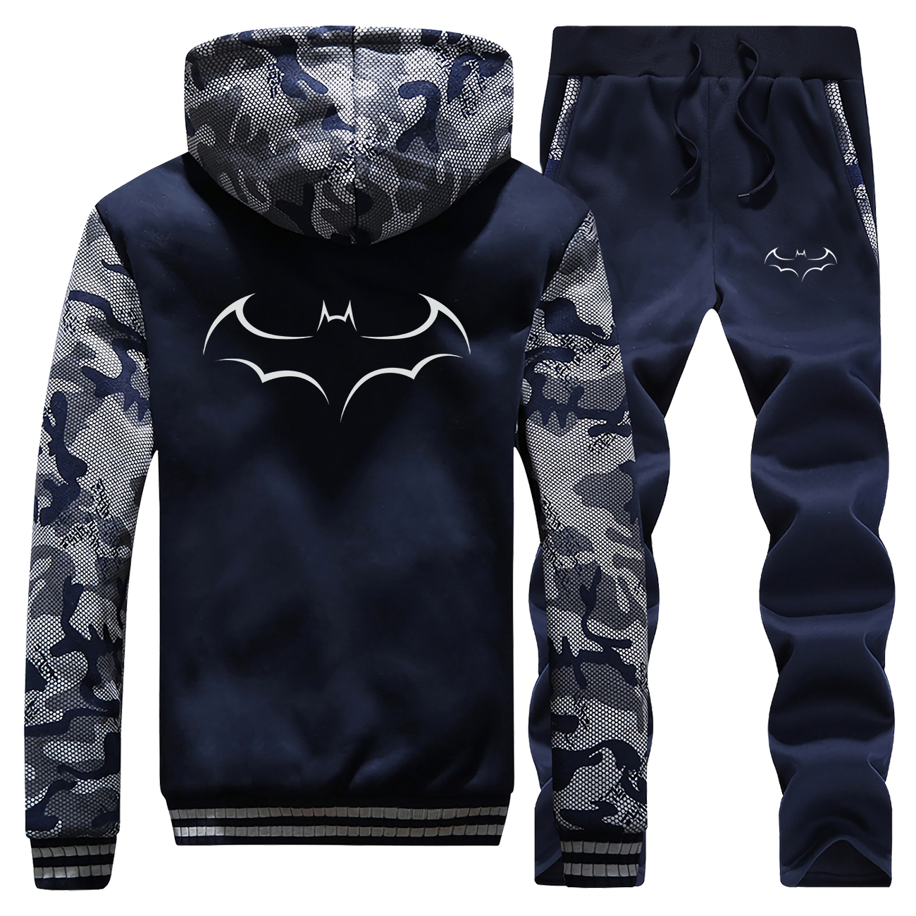 DC Batman Men Warm Sets Fashion Superhero Hoodies Sweatshirt +Sweatpants Mens 2 Pieces Set Tracksuit Thick Hoodies Trousers Suit