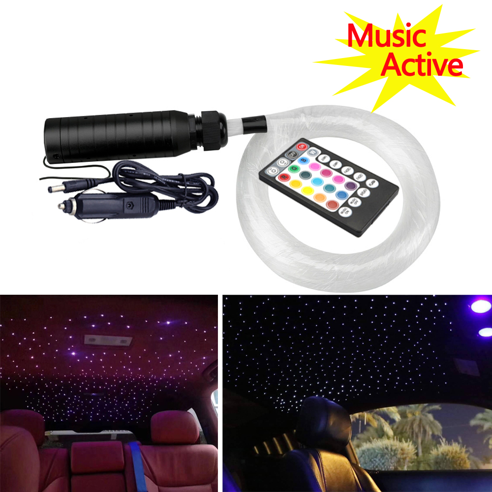 6W RGB 12V Music Control  Fiber Optic Light Car Roof Star Lights 100pcs /150pcs/200pcs 0.75mm 2M  LED Optical Fiber Cable Lights