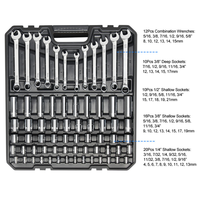 228pcs Tool Set Socket Wrench Tools Auto Repair Mixed Combination Toolbox Package Hand Kit Plastic by PROSTORMER 3