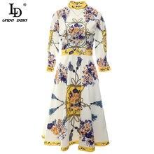 LD LINDA DELLA 2021 Fashion Runway Designer Autumn Dress Women manica lunga Vintage stampa floreale Casual Ladies Party Midi Dresses