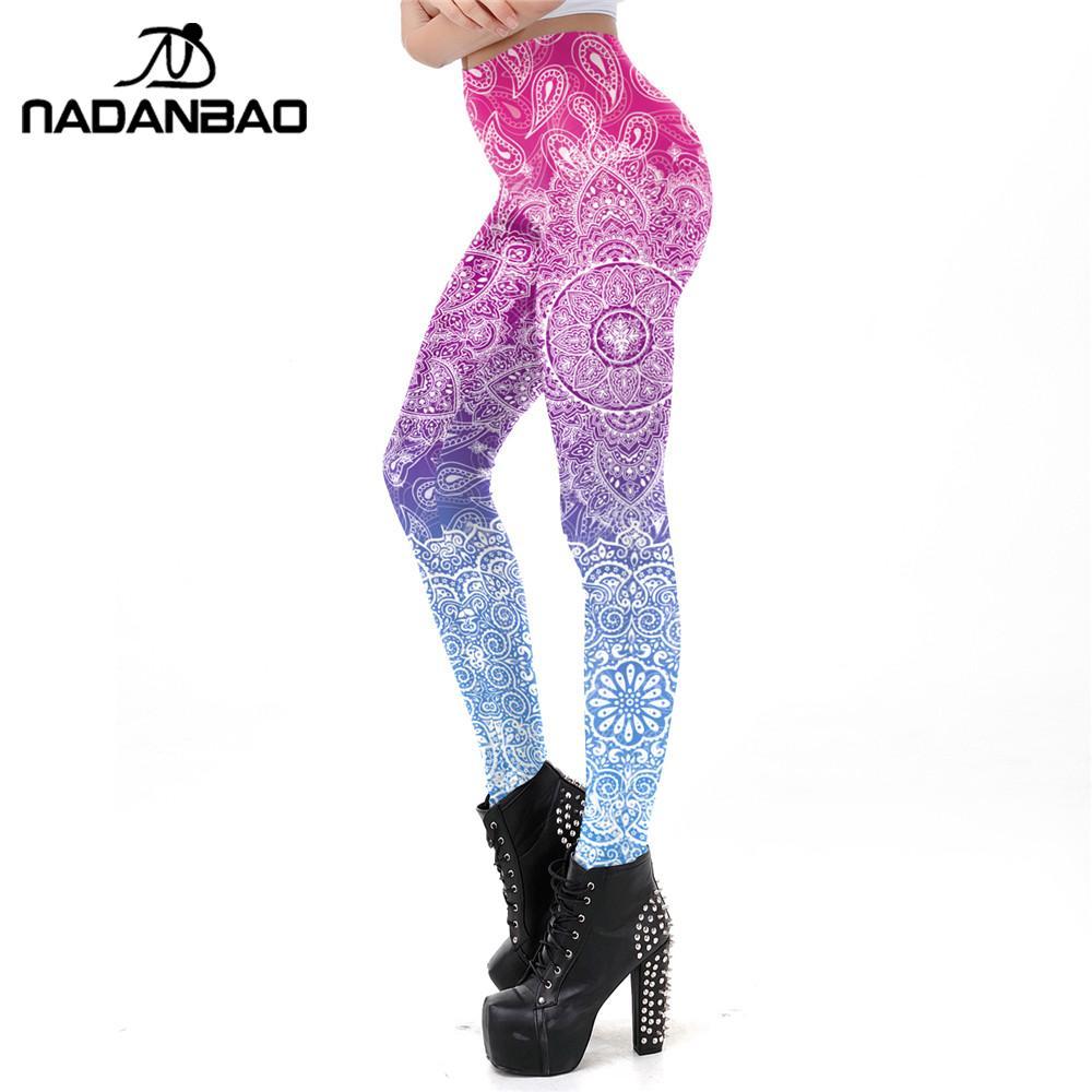 NADANBAO Women Legins Mandala Ombre Blue Printing Workout Legging Fashion Casual High Waist Woman Leggings For Fitness
