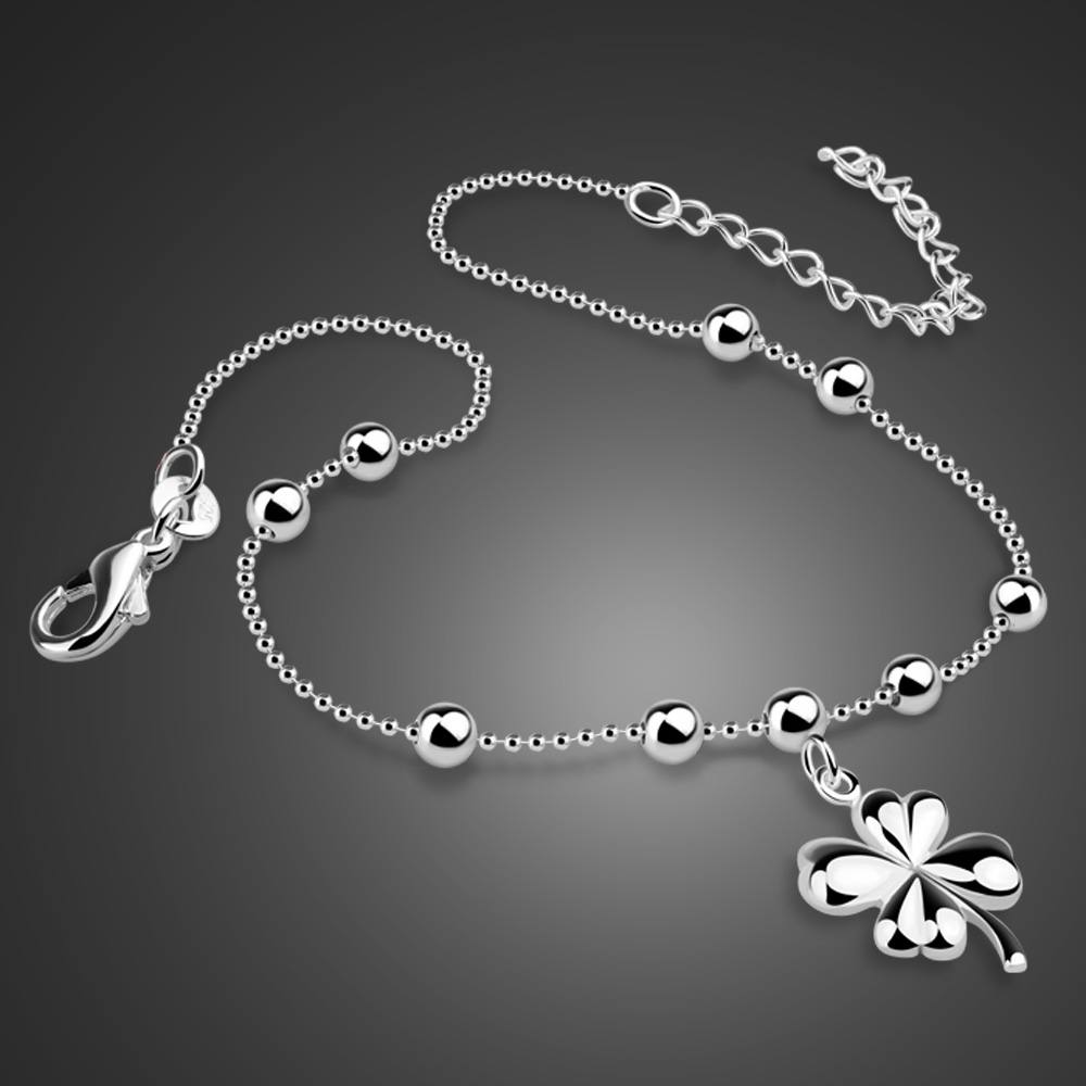 Bohemia Fashion Clover Anklets 100% 925 Sterling Silver Foot Beach ball Anklets Women & Girl Barefoot Chain Jewelry Summer gif