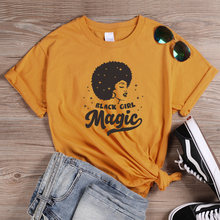 ONSEME Black Girl Magic Letters Print T Shirt Sexy Afro Lady Graphic Womens Casual Cotton Tshirt Harajuku Feminist Tees