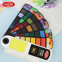 Juego de acuarelas de pigmento sólido portátil, alta calidad, 18 colores, con esponja, pincel, bolígrafo para pintura profesional, suministros de arte