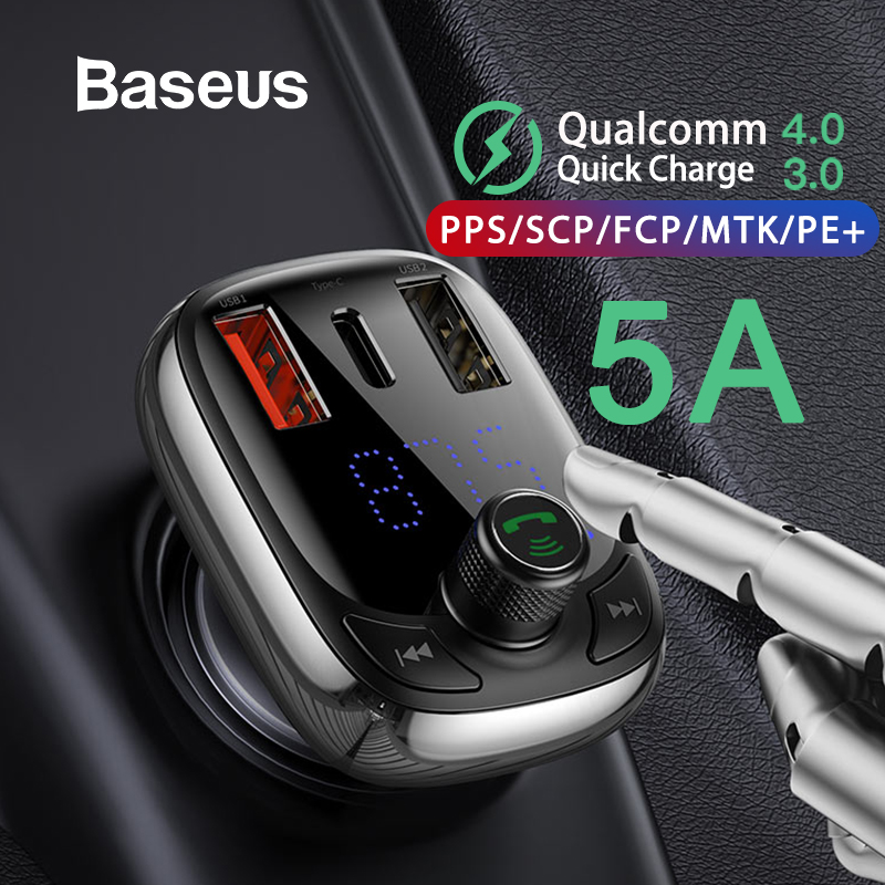 Baseus FM Transmitter Modulator Bluetooth 5.0 Handsfree Car Kit Audio MP3 Player With PPS QC3.0 QC4.0 5A Fast Car Auto Charger image
