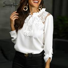 Simplee Elegant lace up chiffon blouse women Ruffled lace embroidery female shirts Long sleeve autumn winter ladies white tops
