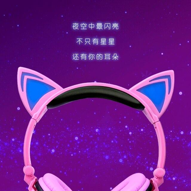 Nouveau chat oreille bluetooth casque LED lumineuse lumière mains libres bluetooth casque pliable casque de jeu pour enfants cadeau