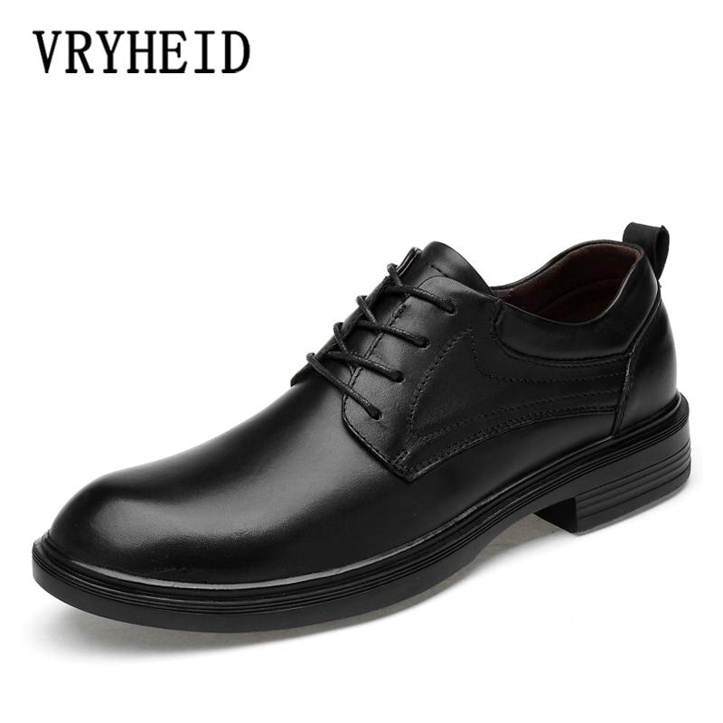 VRYHEID Plus Size 36~49 Genuine Leather Men Oxford Shoes Dress Shoe Male Wedding Shoe Social Chaussure Homme Office Formal Shoe