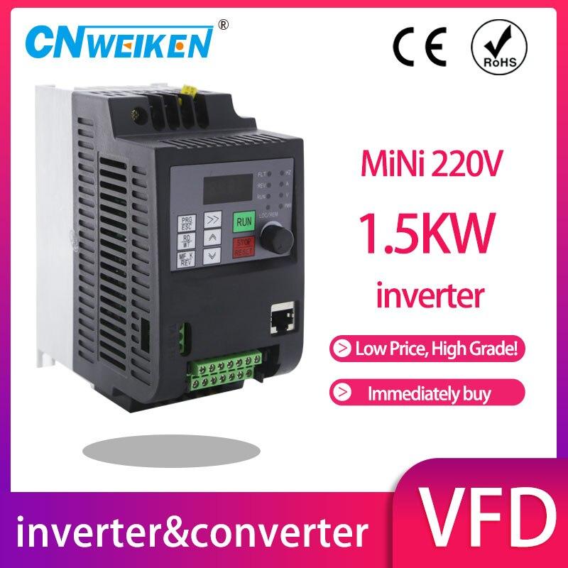 Преобразователь частоты с переменной частотой 50 Гц/60 Гц, инвертор двигателя Wk310 VFD 1,5 кВт, однофазный 220 В, трехфазный вход 220 Выход