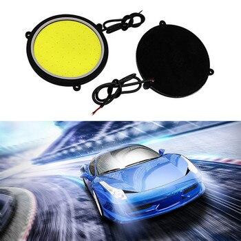 Luces de circulación diurna para coche SMAUTOP, Flexible, redondo, forma COB, lámpara antiniebla de conducción, bombillas blancas, diseño de coche, 2 uds., 12V, 88mm