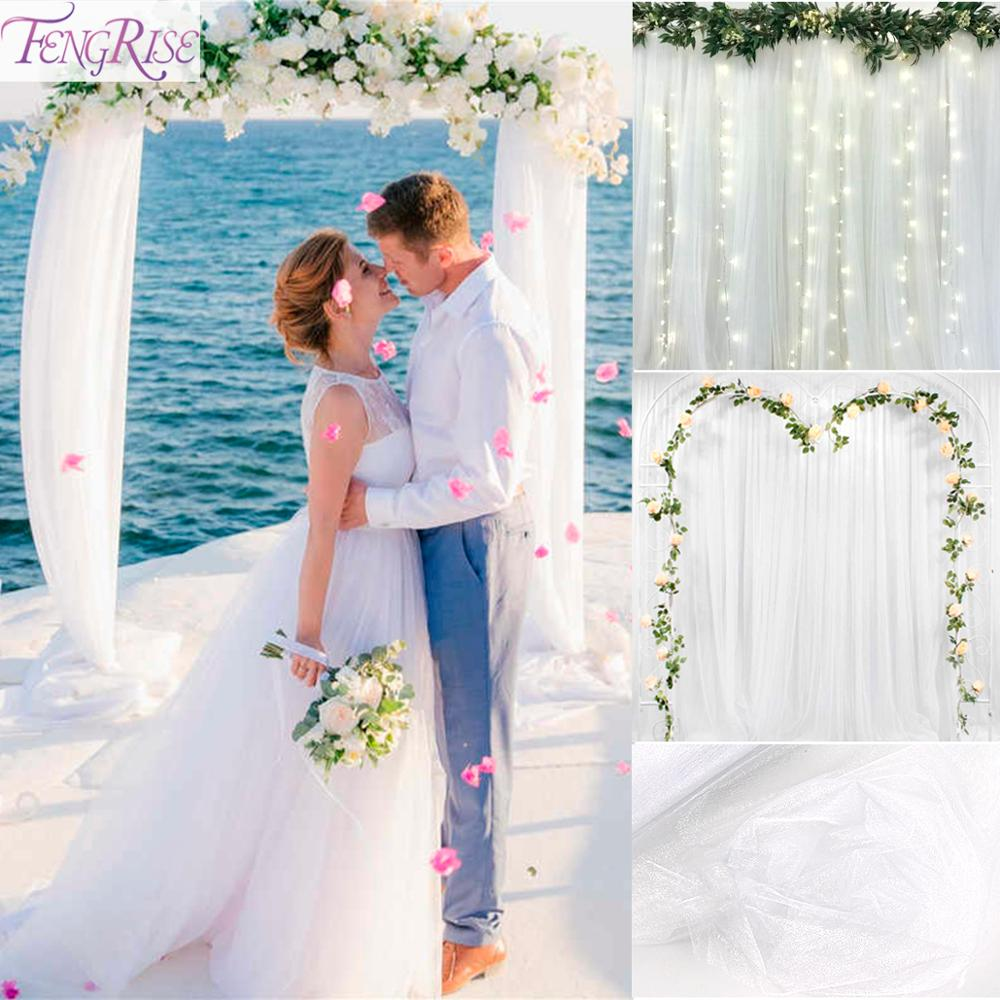 FENGRISE 5M/10M/ Sheer Crystal Tulle Roll Organza Rustic Wedding Decoration Chair Sashes For Weddings