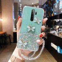 Custodia per telefono in Silicone con cordino glitterato Ultra sottile per Xiaomi Redmi Note 9 8 7 Mi 11 10 9 T 8 Lite Pro custodia in corda di lusso