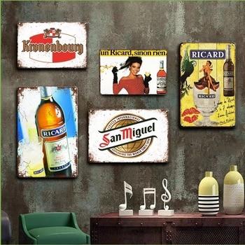 Vintage Ricard Metal Poster Tin Sign Beer Wall Sticker Decorative plaques Retro Irish Pub Bar Kitchen Wall Home Decor Plates
