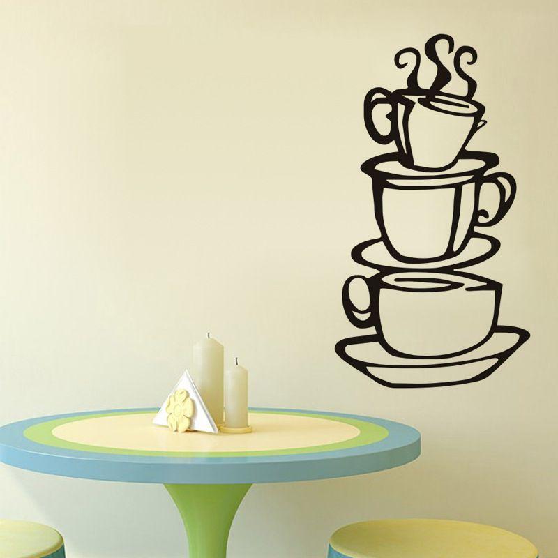 Muro di Corrente Domestica Sticker Tazza di Caffè da Cucina Camera da Letto Divano Sfondo Decorazione Della Casa Carta da Parati Impermeabile - 2