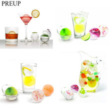 PREUP 4pcs Dia 3.5cm Whiskey Cocktail Ice Cube Ball 4 Large Sphere Mold Plastic Ice Ball Maker Large Ice Ball Cube Mold(China)