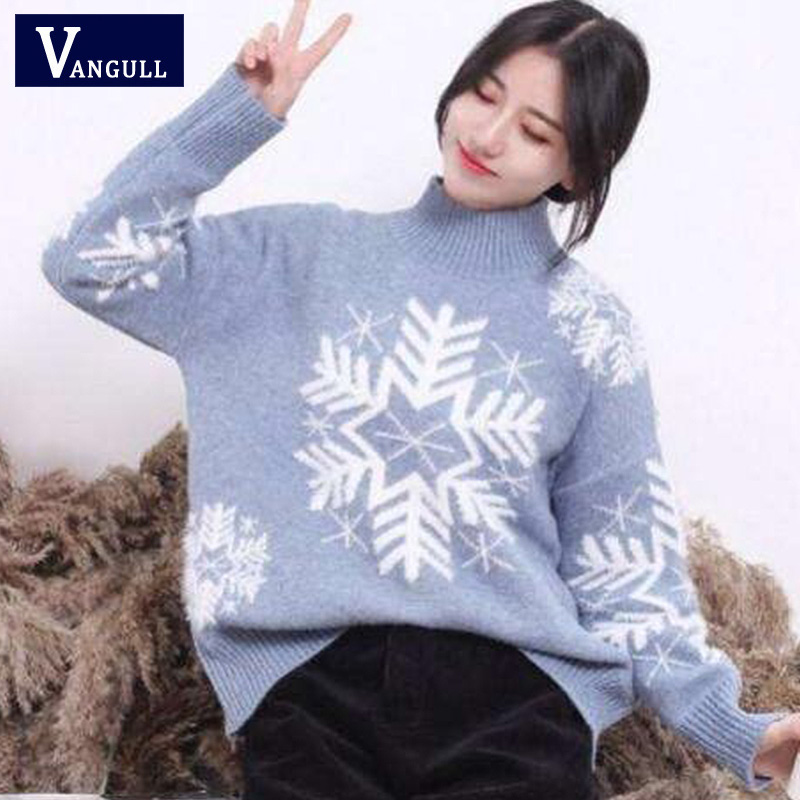 Vangull 2019 New Autumn Winter Women Knitted Sweaters Pullovers Turtleneck Long Sleeve Snow Christmas Slim Elastic Short Sweater
