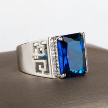 Jewelry-Rings Sapphire Gemstones Silver 925 Rectangle-Shape Cellacity Size Classic
