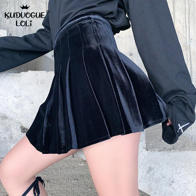 Japanese Dark Velvet Skirt Women Gothic Punk High Wasit Pleated Skirt Harajuku Streetwear Fashion Sexy Black Mini Skirt Female