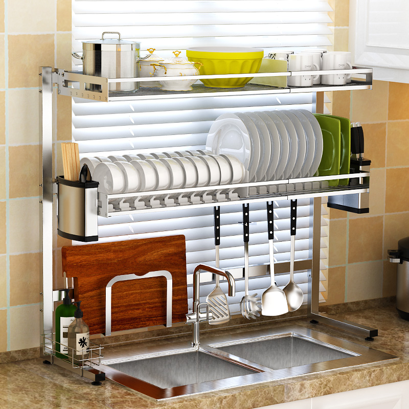 Expandable Dish Drying Rack 2 Tier Over Sink Dish Drying Shelf Kitchen Storage Rack Knife Spoon Chopsticks Draining Cabinet Rack