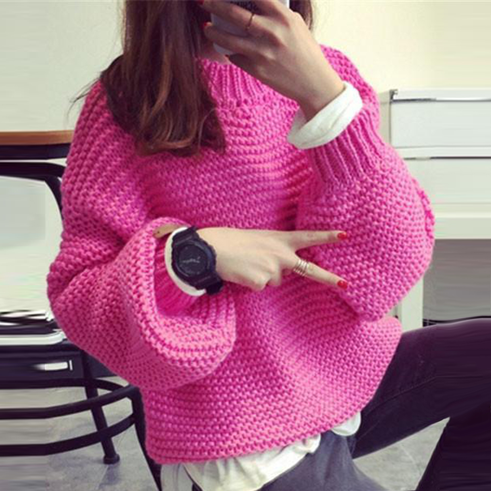 NEW Autumn Womens Fuzzy Sweater Basic Female Pullover Batwing Sleeve Solid Color Femme Casual Knitted Streetwear