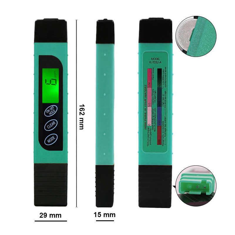 La calidad del agua de prueba bolígrafo TDS medidor de agua potable medidor de pH del agua pluma con la luz de la pureza del agua comprueba la temperatura