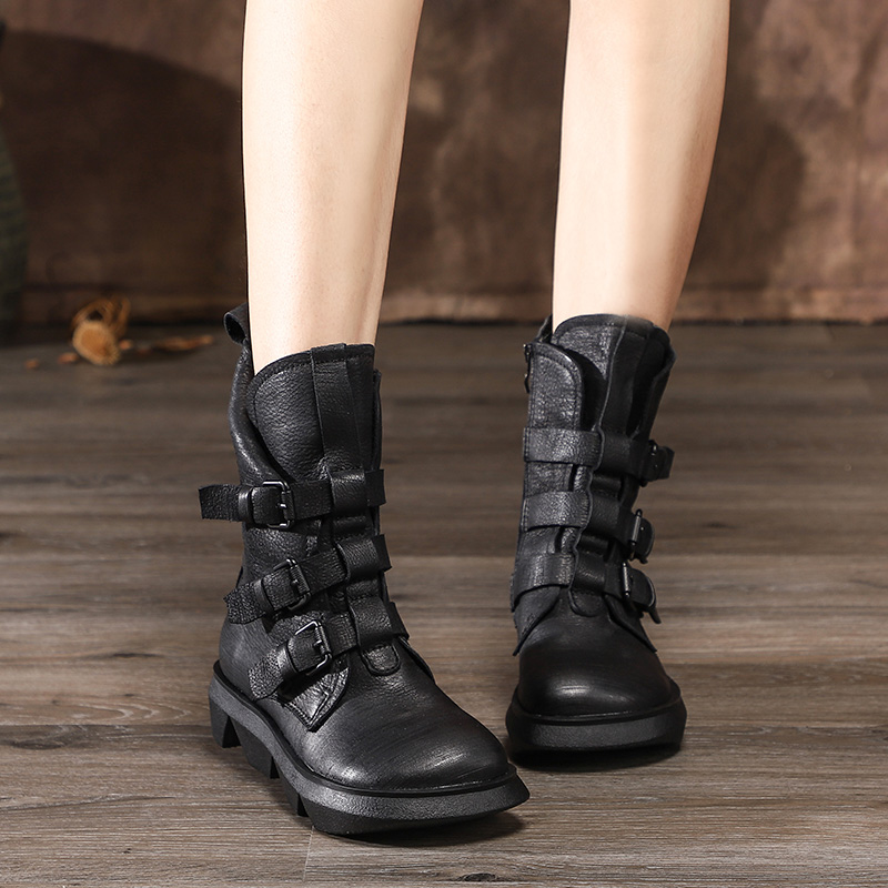 Buckle Design Women Winter Shoes Mid Calf Boots Cowhide Leather Women Boots  Thick Heel Vintage Style Female Footwear Black Boots Mid-Calf Boots  -  AliExpress