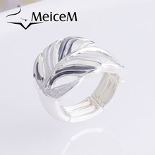 MeiceM Fashion Gray White Enamel Rings Personality Design Leaf Ring for Women Alloy Jewelry Trend Adjustable Rings Female Gifts