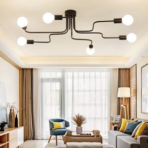 Image 4 - 現代の led シャンデリア照明器具ブラック鉄 4 6 8 支店天井シャンデリアヴィンテージ工業ランプリビングルームのベッドルーム