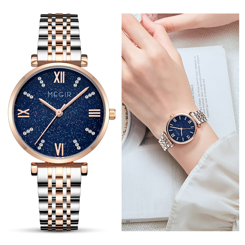 MEGIR Top Brand Star Watch For Women Japan Movt Blue Starry Sky Quartz Wristwatch Gradient Ladies Wrist Watches Relogio Feminino