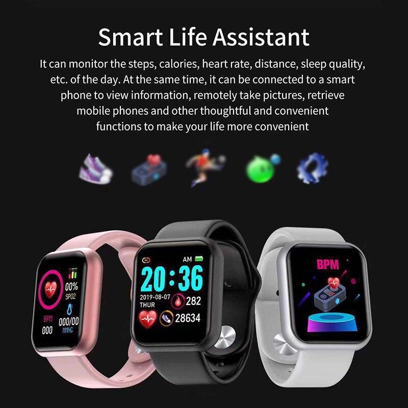 Y68 Waterproof Watch Sport Bracelet Smart Waterproof Fitness Bluetooth Connection Durable Fitness Heart Rate Monitor Smart Watch