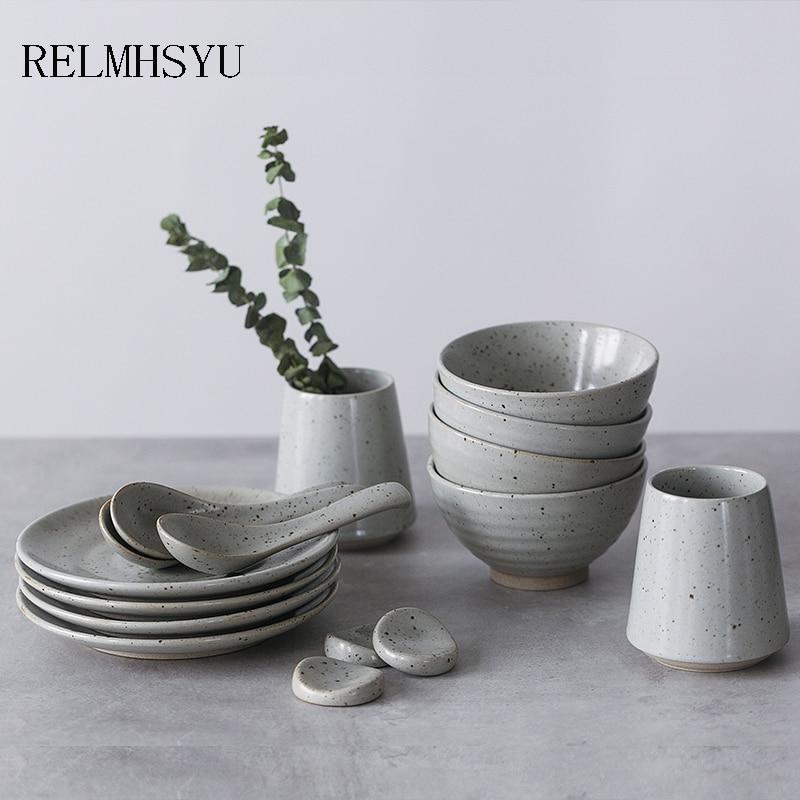 1PC RELMHSYU Japanese Style Retro Simple Ceramic Rice Bowl Round Steak Dinner Plate Tableware Set