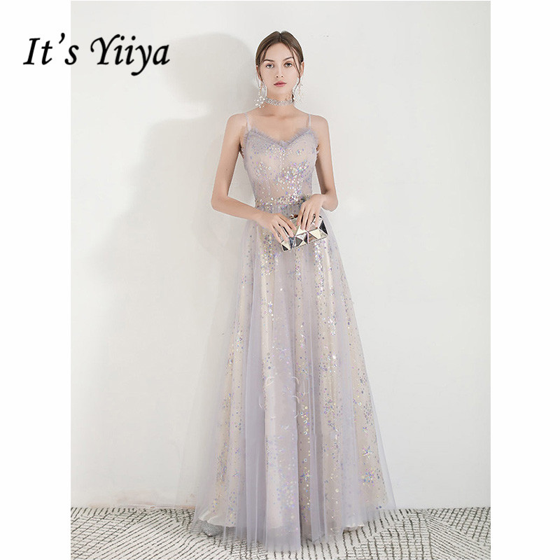 It's Yiiya Evening Dress 2019 Sequins Sleeveless Illusion Long Party A-Line Dresses Spaghetti Strap Elegant Robe De Soiree E1102
