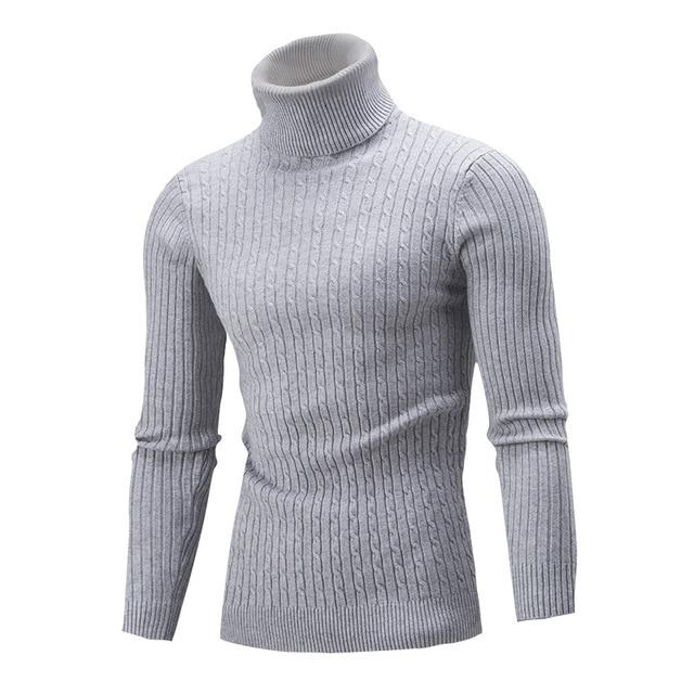 sweater slim Men Fashion Casual Solid Color Turtleneck Knit Tops Long Sleeve Pullover vintage gentlemen Sweater 1