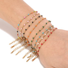 1pcs Stainless Steel Gold/Steel Tone Beaded Chain Bracelet Colorful Enamel Satellite Beads Bracelet Fashion Women Gifts(China)